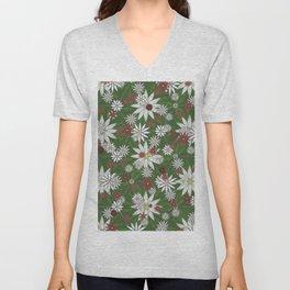 White and Red Flower Pattern on Green Background Unisex V-Neck