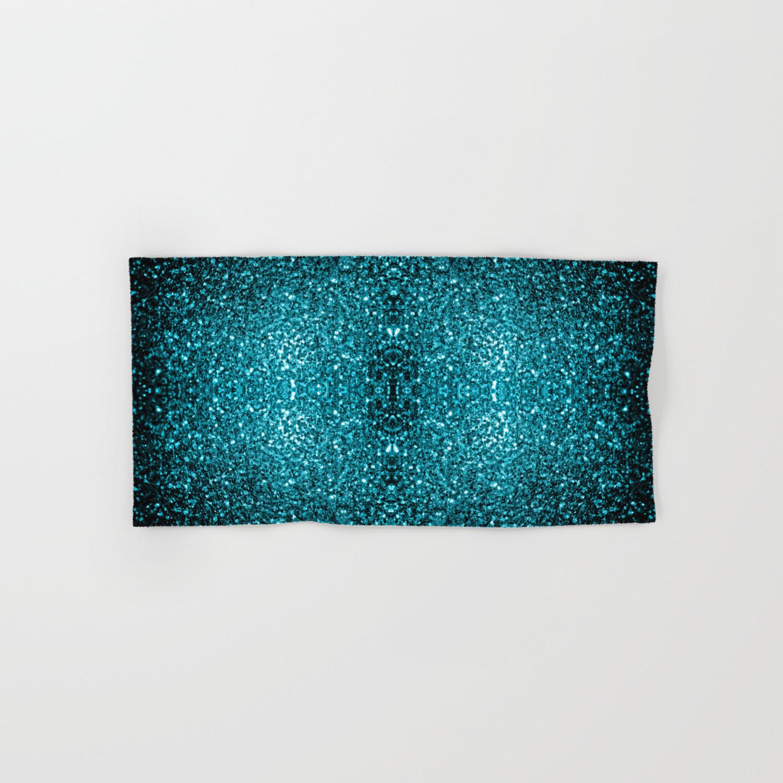Beautiful Aqua Blue Glitter Sparkles Hand Bath Towel By Pldesign Society6