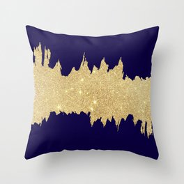 Modern abstract navy blue gold glitter brushstrokes Throw Pillow