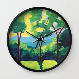 Green Trees at Sunrise Wall Clock