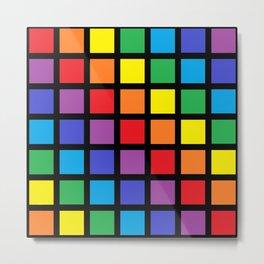 Rainbow Squares Black Metal Print
