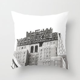 New Yorker Building // New York // Black and White Photography Throw Pillow