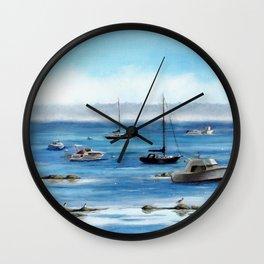 Boats Bobbing on Belfast Bay Wall Clock