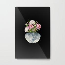Moon Flower Pot #flower #moon Metal Print