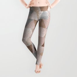 Copper and Blush Rose Gold Marble Triangles Leggings