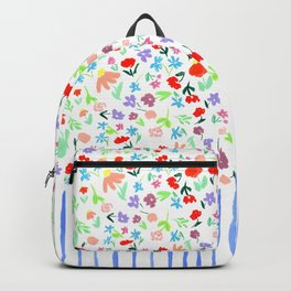 Cute Ditsy Floral Pattern with Blue Stripes Backpack