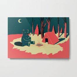 Toasty Bear Campsite Metal Print