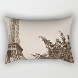 Crow perched in front of the Eiffel Tower Rectangular Pillow