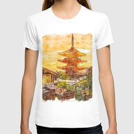 Hokanji Temple Japan Watercolor T-shirt