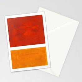 Burnt Orange Yellow Ochre Mid Century Modern Abstract Minimalist Rothko Color Field Squares Stationery Cards