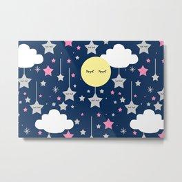 Moon Star Cloud Nursery Metal Print