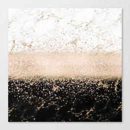Elegant rose gold confetti marble design Canvas Print