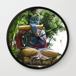 Blue Balinese Buddhist Statue in Garden Wall Clock