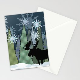 Moose in the Snow and Trees Stationery Cards