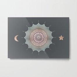 Rose Gold Magic Mandala Moon And Star Metal Print