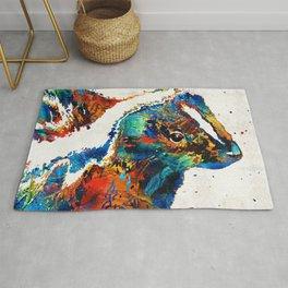 Colorful Skunk Art - Dee Stinktive - By Sharon Cummings Rug