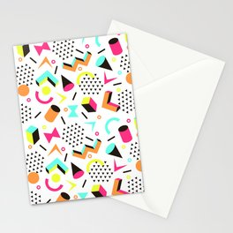 1980s Vintage Neon Skateboarding Jams Cool Dude Pattern Stationery Cards