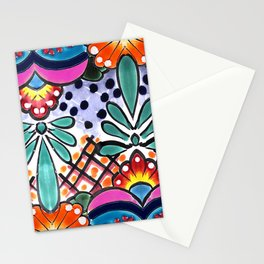 Colorful Talavera, Pink Accent, Large, Mexican Tile Design Stationery Cards