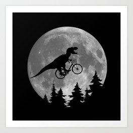 Biker t rex In Sky With Moon 80s Parody Kunstdrucke