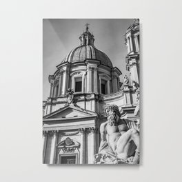 Piazza Navona, the ancient Stadium of Domitian, in Rome, Italy Metal Print