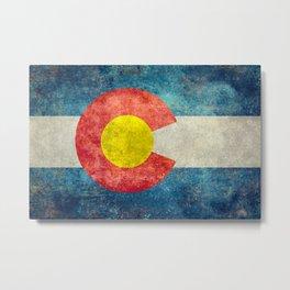 Colorado State Flag in Vintage Grunge Metal Print