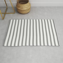 Mattress Ticking Wide Striped Pattern Black and White Rug