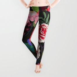 Beautiful roses, carnation, bud and mix flowers vintage pattern black background Leggings