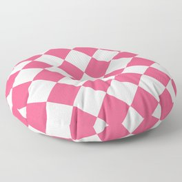 Large Diamonds - White and Dark Pink Floor Pillow