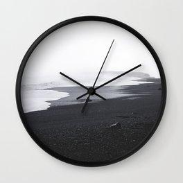 Black Sand Ocean Beach Waves Wall Clock