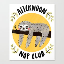 Afternoon Nap Club Sloth Canvas Print