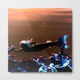 Mermaid - Neon Sunset Metal Print