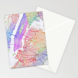 New York City Map of the United States - Colorful Stationery Cards