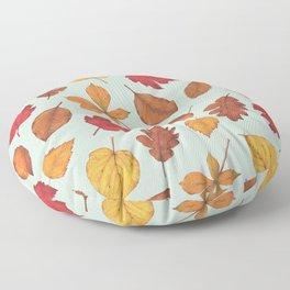 Autumn Leaves Illustration Pattern | Pale Green Leaves Pattern | Oak Linden Maple pattern Floor Pillow