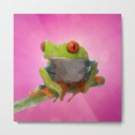 Low Poly Poison Tree frog Metal Print