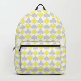 Playing Cards Pattern Grey Yellow on White Backpack