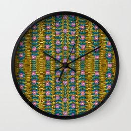 gold jungle and paradise liana flowers Wall Clock