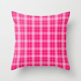 Bright  Neon Pink and White Tartan Plaid Check Throw Pillow