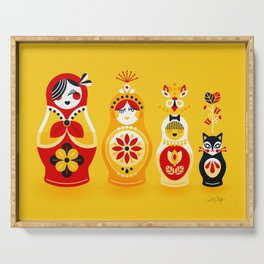 Russian Nesting Dolls – Yellow & Red Serving Tray