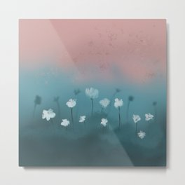 White flowers in the morning mist Metal Print
