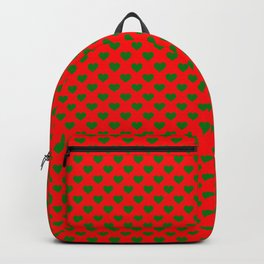 Large Green Hearts on Christmas Red Backpack