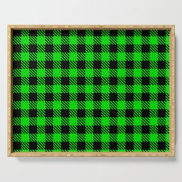 Lime  Bison Plaid Serving Tray