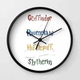 Sorting Hat houses white Wall Clock