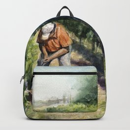 Vineyard Watercolor Landscape Wine Grapes Nature Backpack