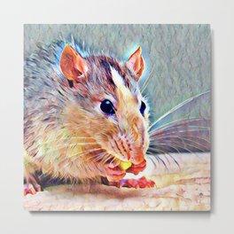 Aquarell Rat Metal Print