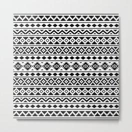 Aztec Essence Pattern II Black on White Metal Print