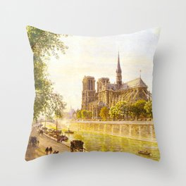 L'lle de la Cite and the Cathedral of Notre Dame, Paris from Quai Montebello by Firmin Girard Throw Pillow