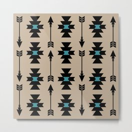 Southwestern Arrow Pattern 253 Black Turquoise and Beige Metal Print