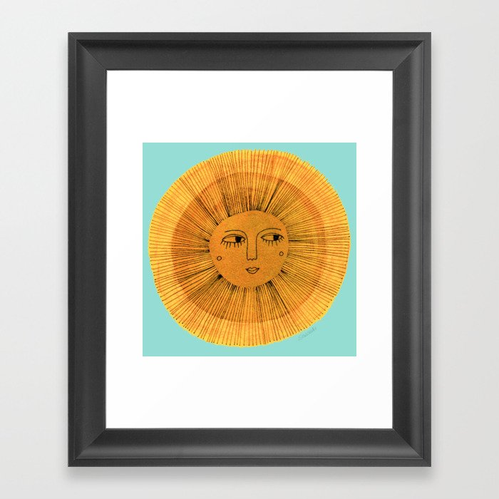 Sun Drawing Gold and Blue Gerahmter Kunstdruck
