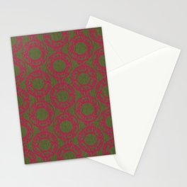 Scrolled Ringed Ikat Pattern – Pesto Jazzy Stationery Cards