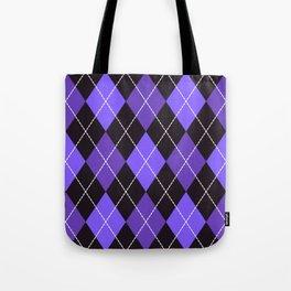 Dashed diamond check purple & black for Halloween Tote Bag